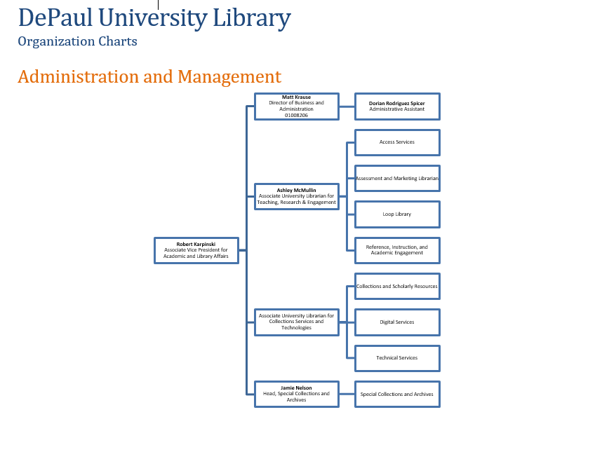 screenshot of first page of library organization chart